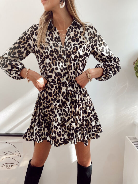 Leopard print shirt dress with ruffled stockings  ALANE in beige