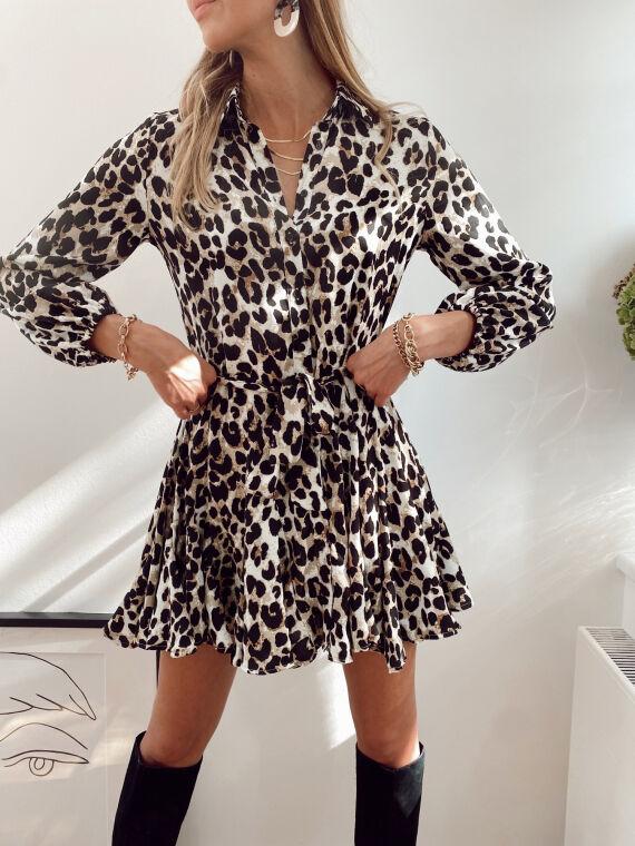 Robe chemise imprimé léopard et bas à volants ALANE beige