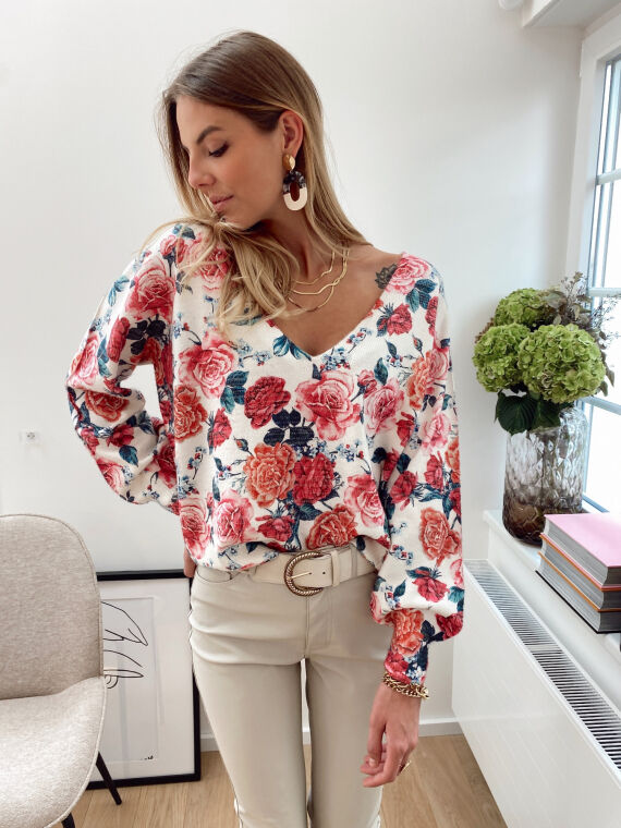 Thin knitted jumper with rose print PAPEL in ecru