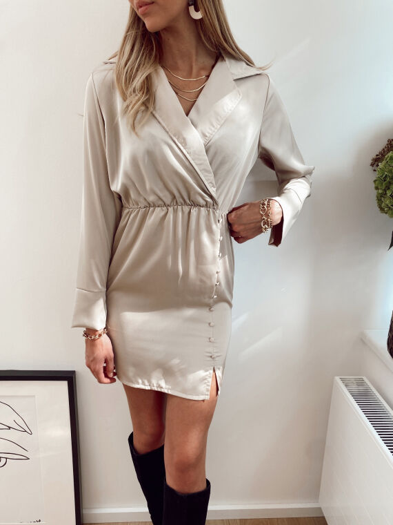 Satin dress with buttons on the side BETANY in beige