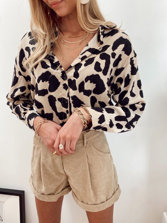 Leopard print shirt MINOUSH in beige