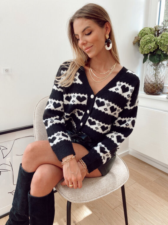 Hairy knit cardigan with jewel buttons QUIERO in black