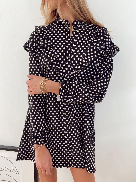 Corduroy polka dot dress LADIES in black