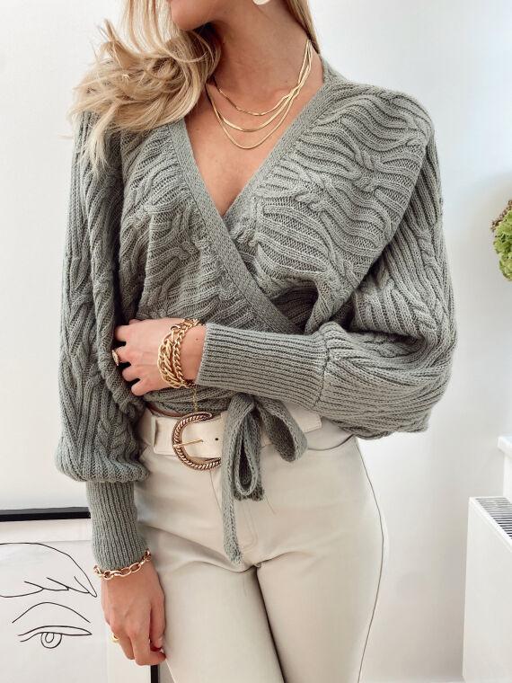 Braided knit cardigan MENDES in khaki