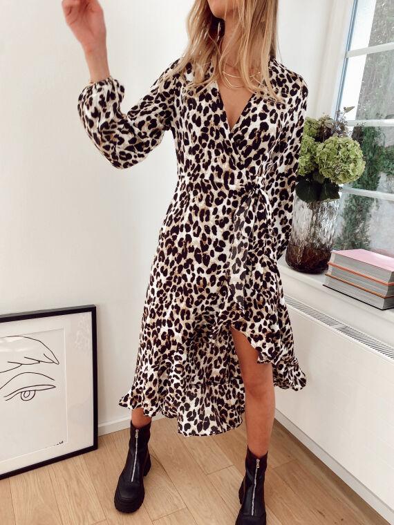 Robe longue coupe portefeuille à imprimé léopard BASTILLE beige