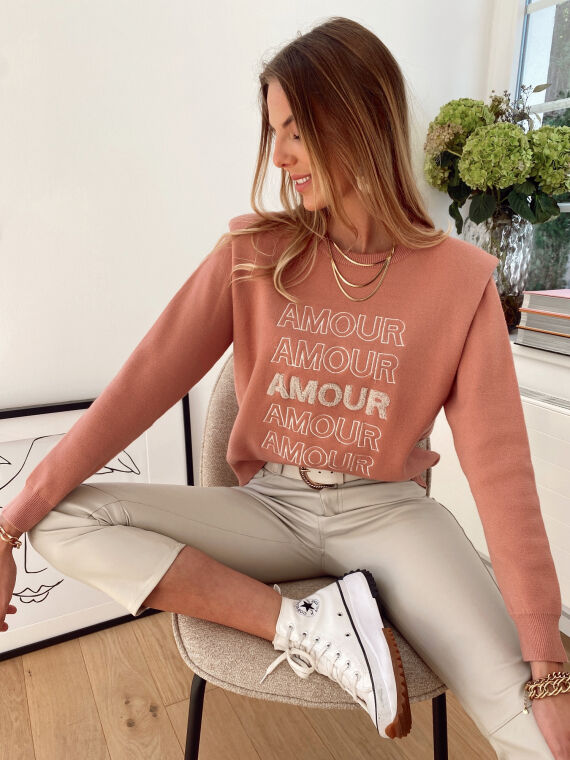 """Embroidered jumper with epaulettes """"AMOUR"""" in pink"""