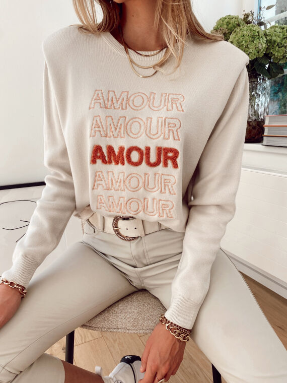 """Embroidered jumper with epaulettes """"AMOUR"""" in beige"""