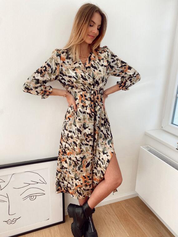 Split maxi dress with spotted print MAMMA in khaki
