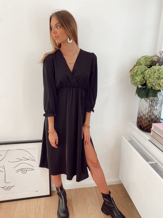 Plain wrap dress  DICKENS in black