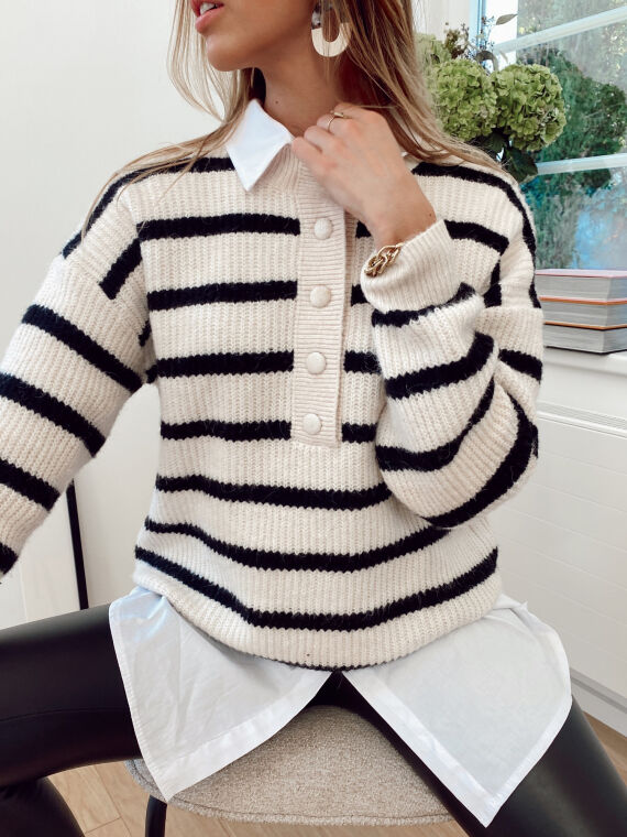 Sailor's jumper in knitwear and large buttons CAYA in ecru