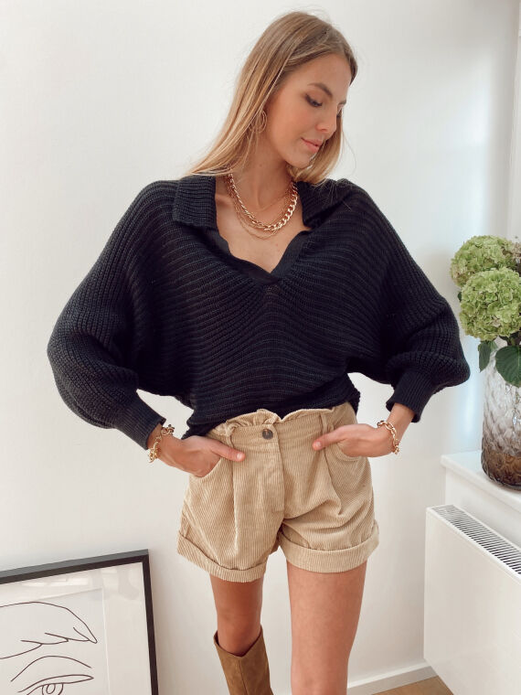 Loose-fitting knitted jumper PAVOT in black