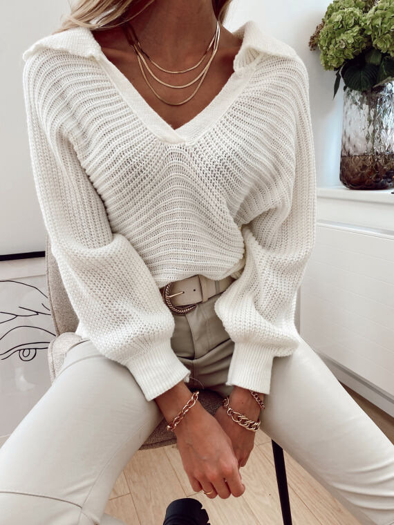 Loose-fitting knitted jumper  PAVOT in ecru