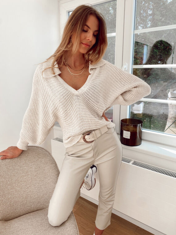 Loose-fitting knitted jumper PAVOT in beige