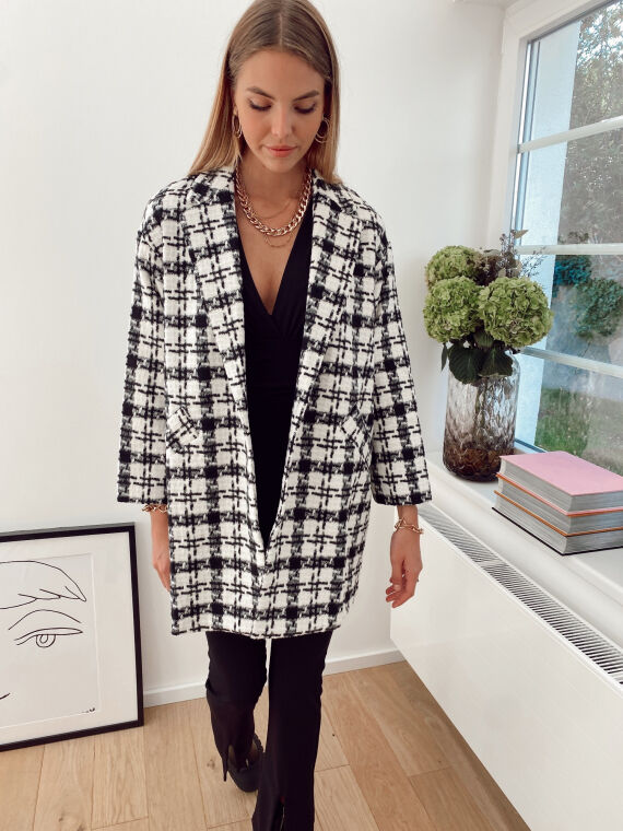Felt wool coat with check pattern CHAMPAGNE in black and white