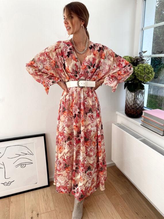 Flowery long dress DESSA in pink