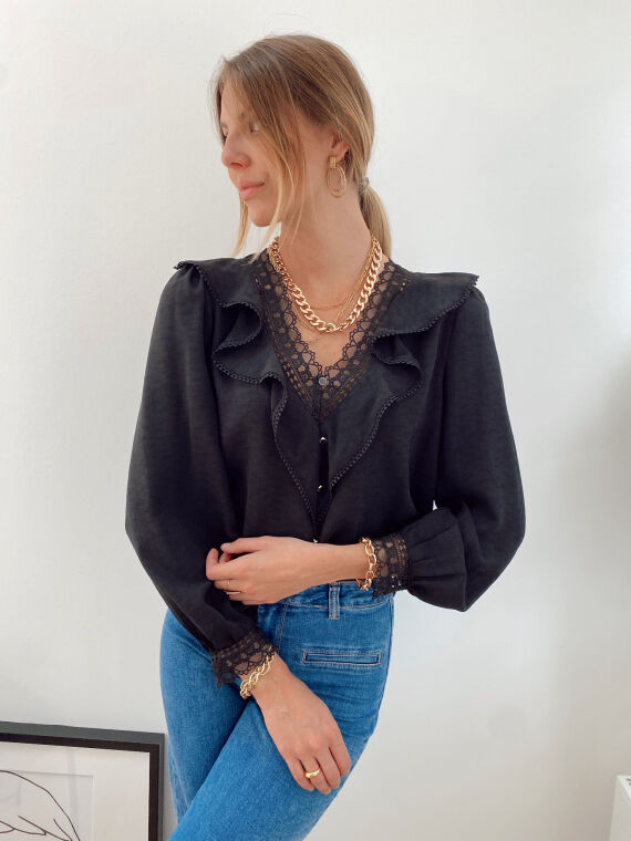 Blouse with ruffles and lace details MORIS in black
