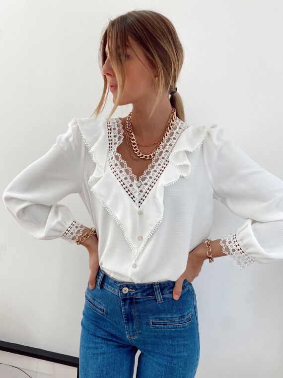Blouse with ruffles and lace details MORIS in white