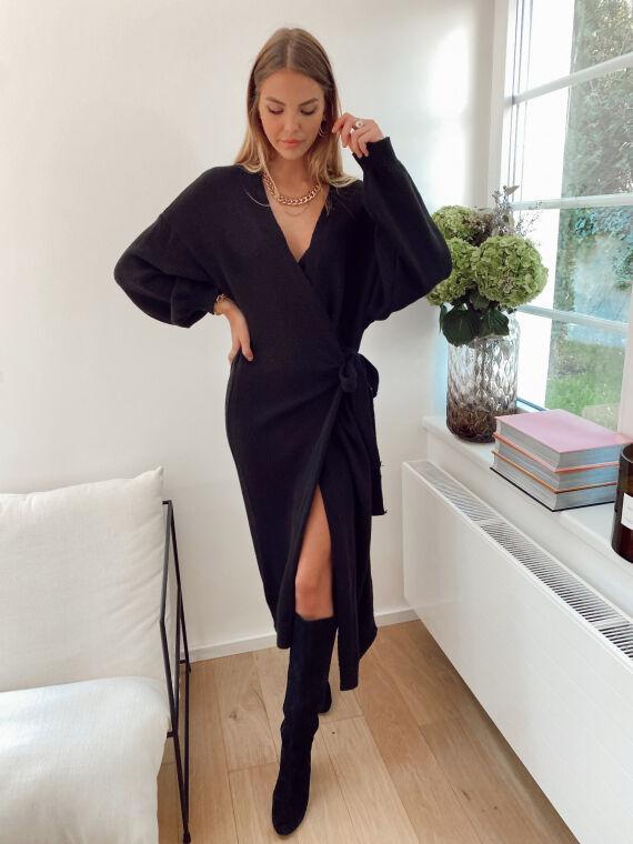 Extra long knitted cardigan POPLIN in black