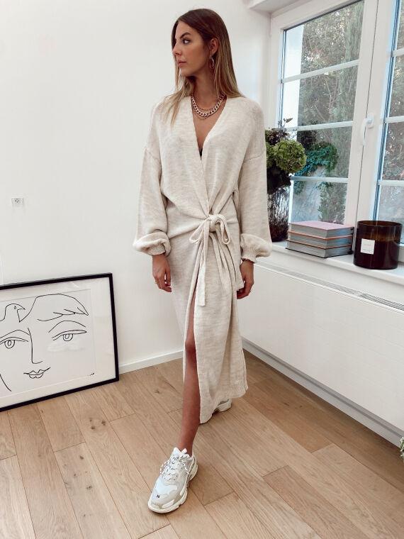 Extra long knitted cardigan POPLIN in beige