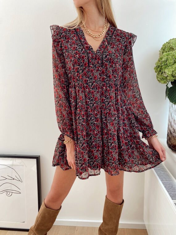 Black veil dress with floral pattern ANIL in red