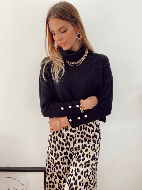 Jumper with pearly buttons POLENE in black