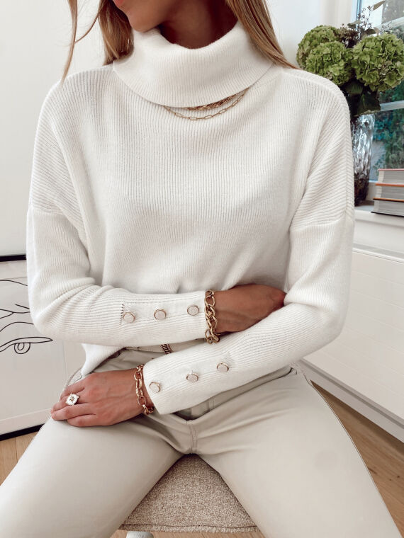 Jumper with pearly buttons POLENE in white