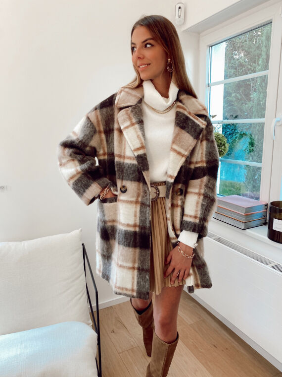 Felt wool coat with checks PALLO in camel