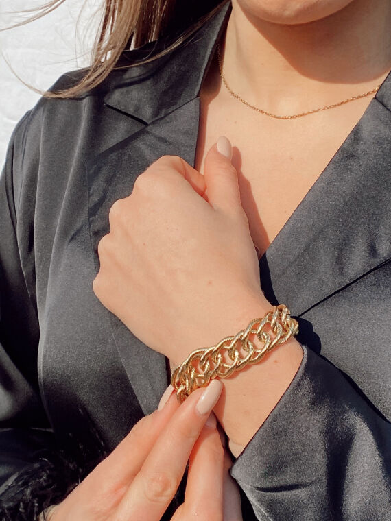Large twisted chain bracelet PHIL in gold plated