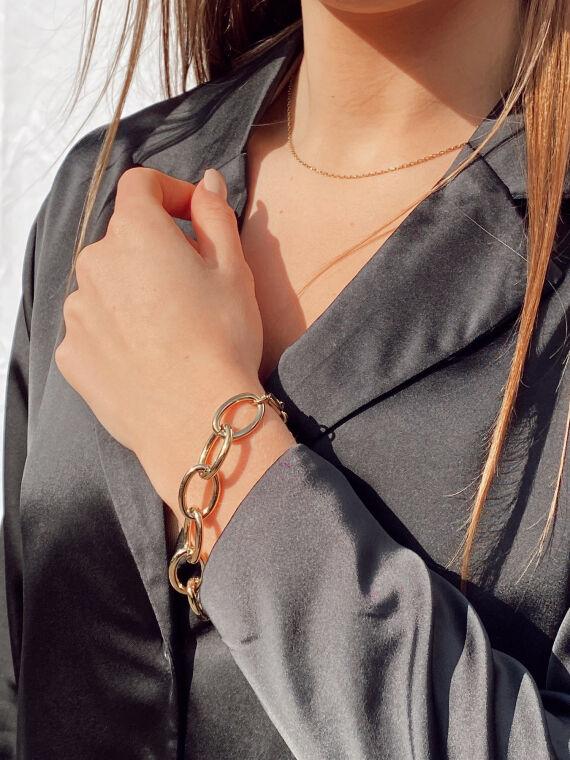 Bracelet grosse chaîne ovale SLAM doré