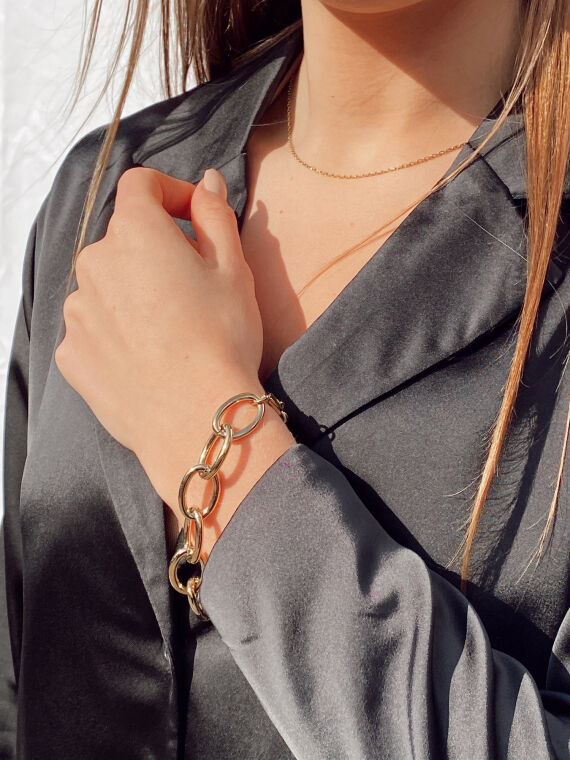 Large oval chain bracelet SLAM in gold plated