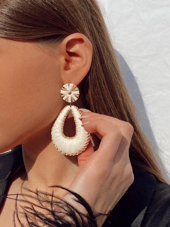 Raffia drop earrings DINO in beige