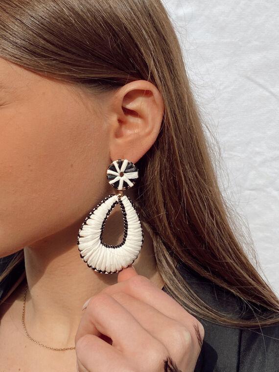 Raffia drop earrings DINO in black