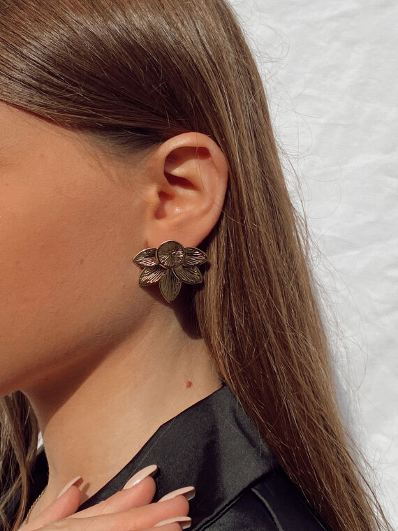 Lotus flower earrings HIO in gold plated