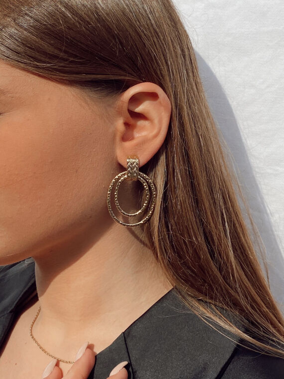 Drop earrings with double ring PRETTY in gold plated