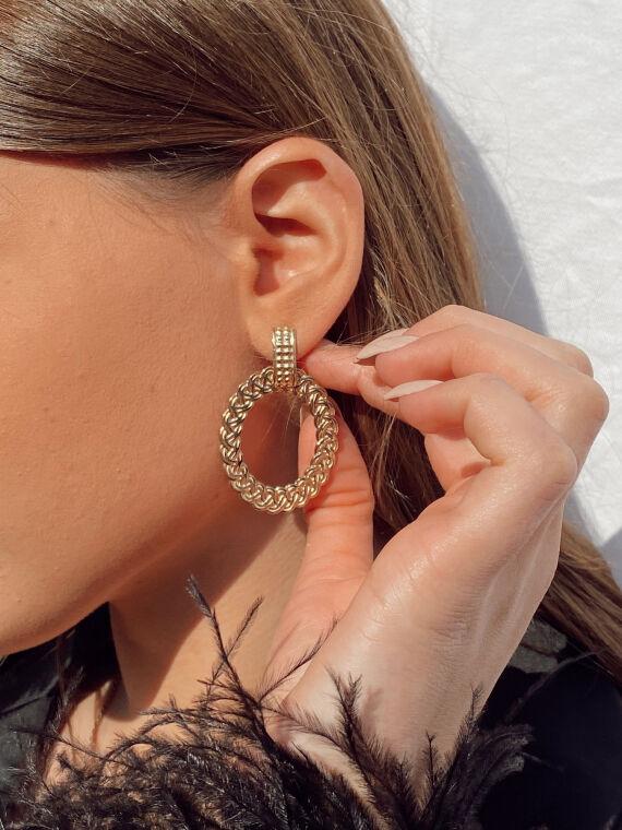Boucles d'oreilles tombantes avec anneau tressé ÉPIS dorées