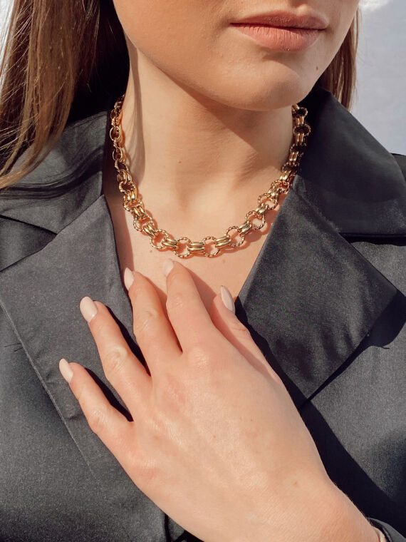 Gold braided and matte link necklaces JULES