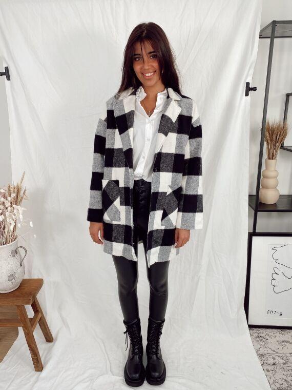 Manteau à gros carreaux LIBRA blanc/noir