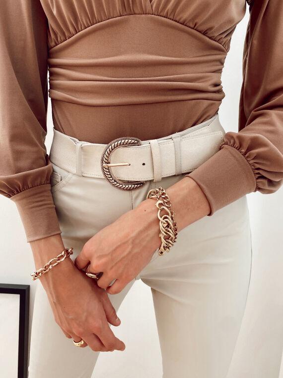 Beige elastic belt with gold buckle CALI