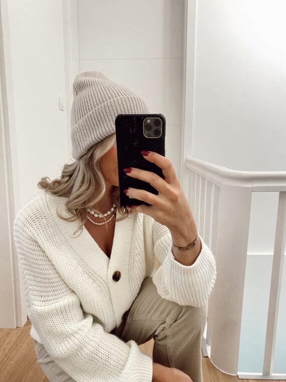 Basic ribbed knit hat JONY in beige