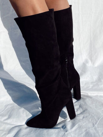 Suede heeled boots DIANE in black
