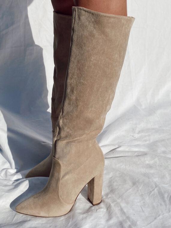 Suede heeled boots DIANE in beige