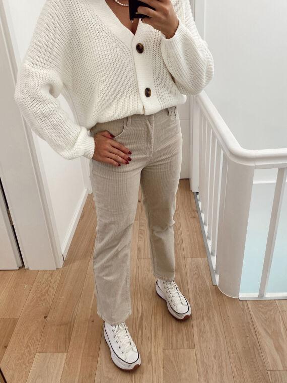 Flared velvet jeans RUMA in beige
