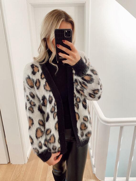 Leopard knit cardigan COCO in beige