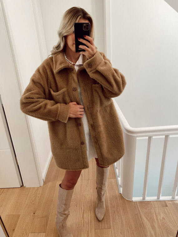 Mid-length furry jacket  JESTO in camel