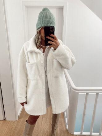 Mid-length furry jacket JESTO in white