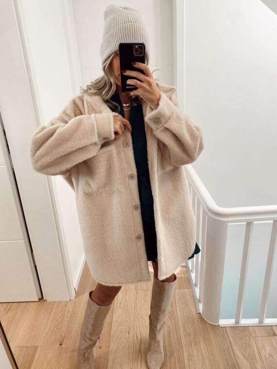 Mid-length furry jacket  JESTO in beige