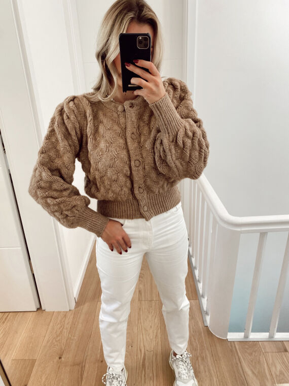 Short cut cardigan BULLE in camel