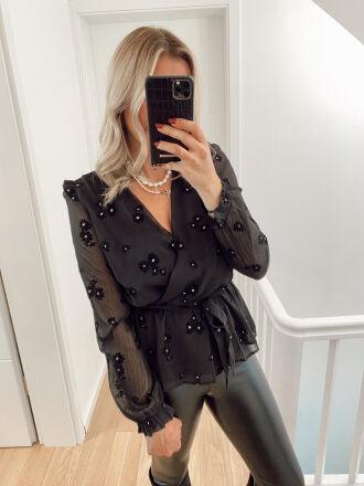 Blouse with velvet details ALPS in black