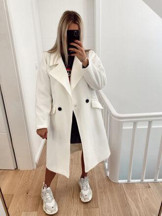 Long oversized coat in felted wool EVANE in ecru