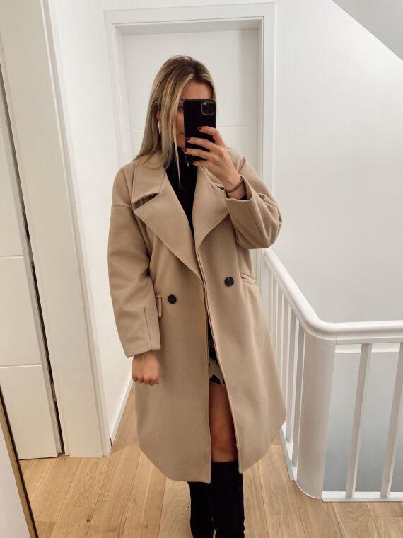 Long oversized coat in felted wool EVANE in beige
